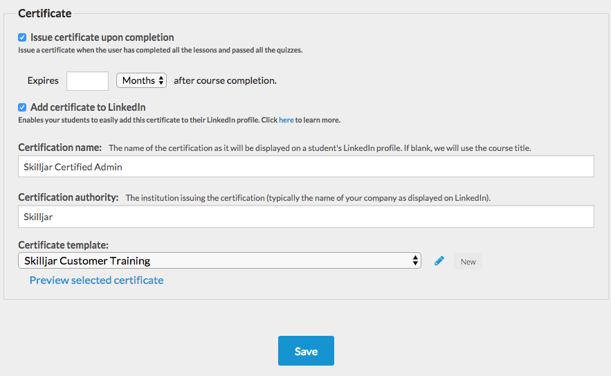 Enabling Linkedin Add To Profile For Certificates Skilljar Help Center