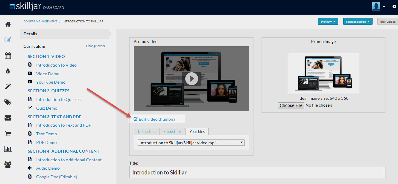 Setting a Video Thumbnail – Skilljar Help Center